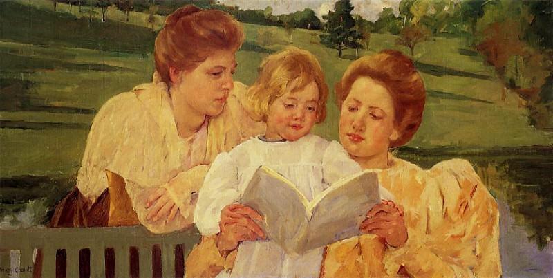 The Garden Reading. Mary Cassatt