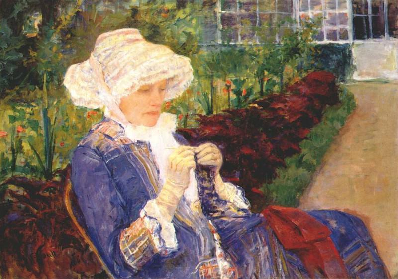 Лидия, вышиваающая тамбуром в саду в Марли, 1880. Мэри Кассат