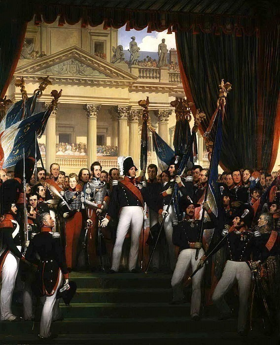 The king gives the flags to the National Guard of Paris and the suburbs. Joseph-Désiré Court