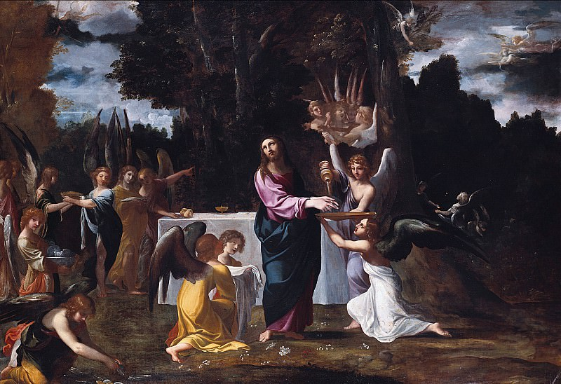 Людовико Караччи - Христос в пустыне в окружении ангелов. Лодовико Карраччи (Christ in the Wilderness, Served by Angels)