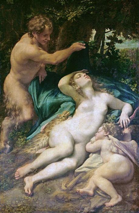 Venus, Satyr and Cupid. Correggio (Antonio Allegri)