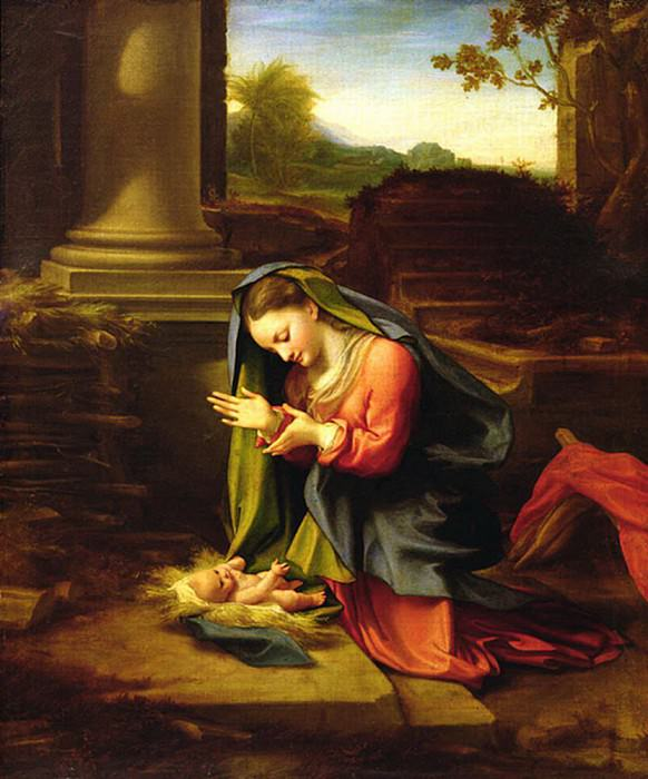 Our Lady Worshipping the Child. Correggio (Antonio Allegri)