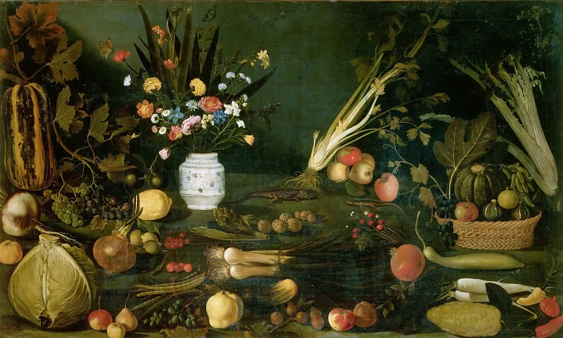 Still Life with Flowers, vegetables and Fruit (school). Michelangelo Merisi da Caravaggio