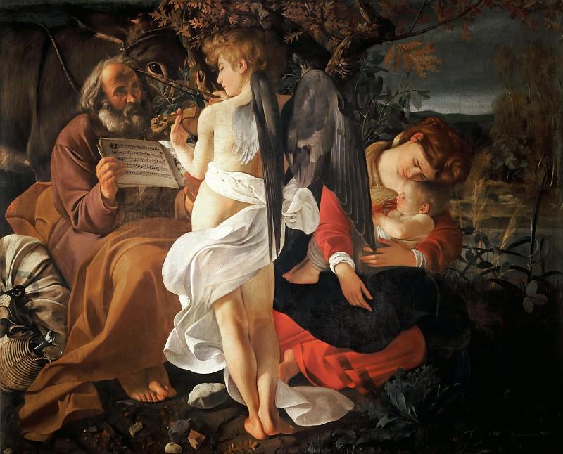 Rest on the Flight into Egypt. Michelangelo Merisi da Caravaggio