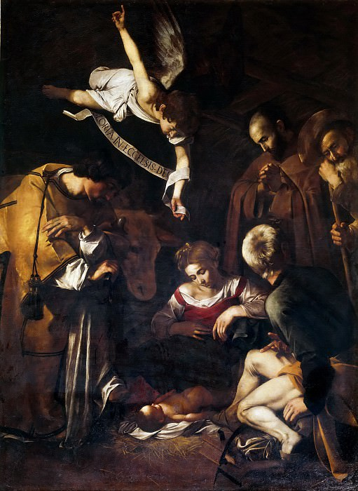 Nativity with Saints Lawrence and Francis. Michelangelo Merisi da Caravaggio