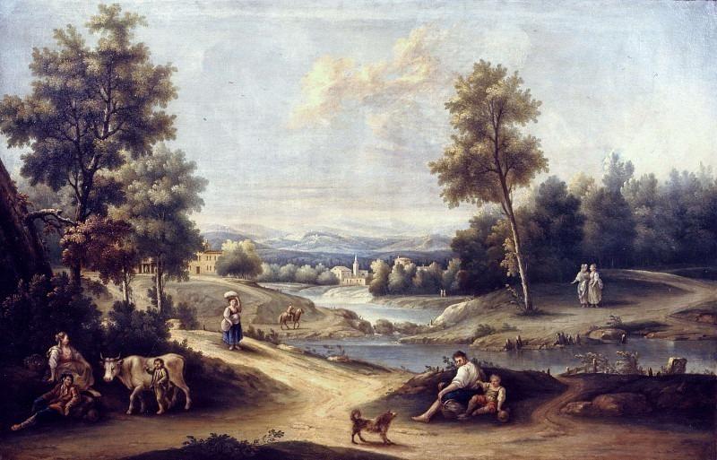 Пейзаж с прудом и крестьянами. Франческо Антонио Каналь