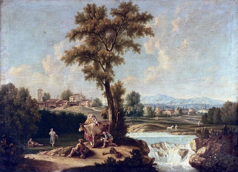 Пейзаж с пастухами и путниками. Франческо Антонио Каналь