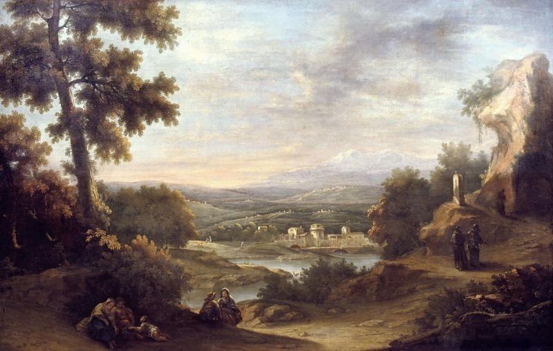 Пейзаж со путниками, монахами и деревней с домом. Франческо Антонио Каналь