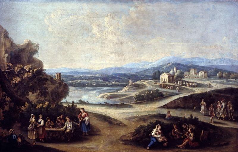 Сельский пейзаж с путниками и деревней с церковью. Франческо Антонио Каналь