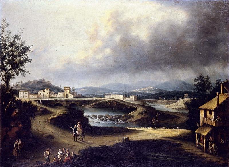 Речной пейзаж с фигурами. Франческо Антонио Каналь