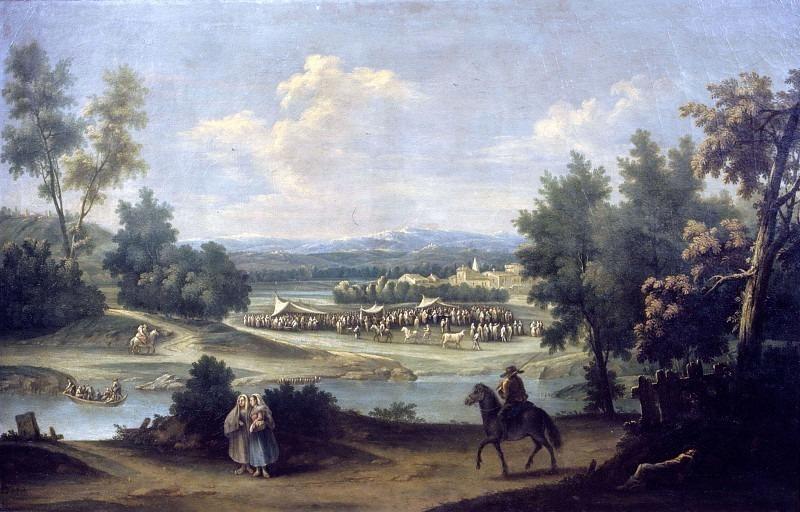 Речной пейзаж с крестьянской ярмаркой. Франческо Антонио Каналь