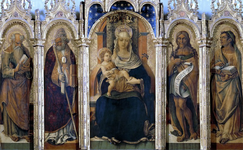 Madonna and Child and Four Saints. Vittore Crivelli
