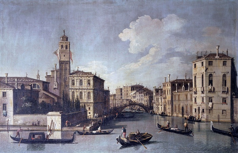 Вид на вход в Каннареджо с церковью Сан-Геремия в Венеции. Бернардо Каналь