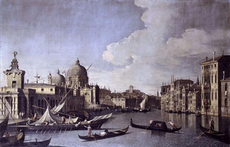 Вид на вход в Гранд-канал с Доганой и церковью Салюте в Венеции. Бернардо Каналь