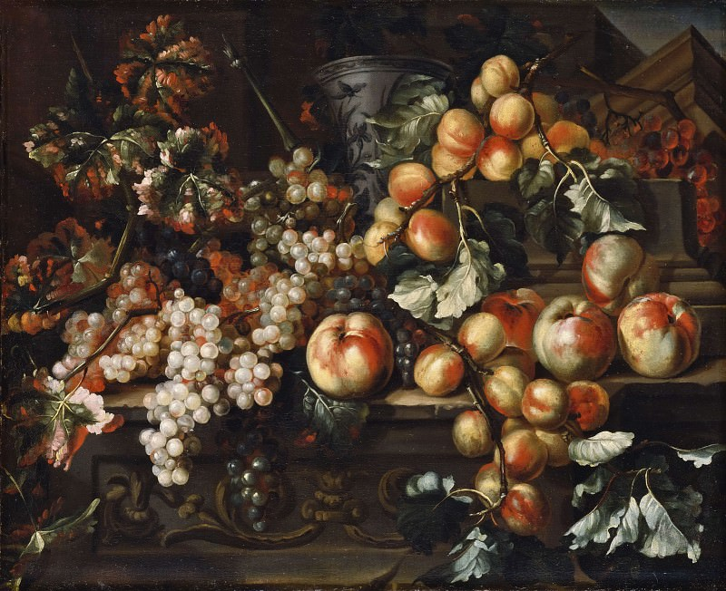 Still Life with Apples and Grapes. Michele Pace del Campidoglio (Attributed)