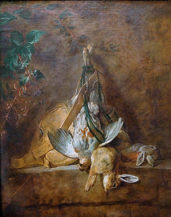 Two rabbits, a partridge and hunting pouch. Jean Baptiste Siméon Chardin