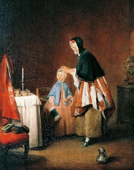 Toilette in the morning. Jean Baptiste Siméon Chardin