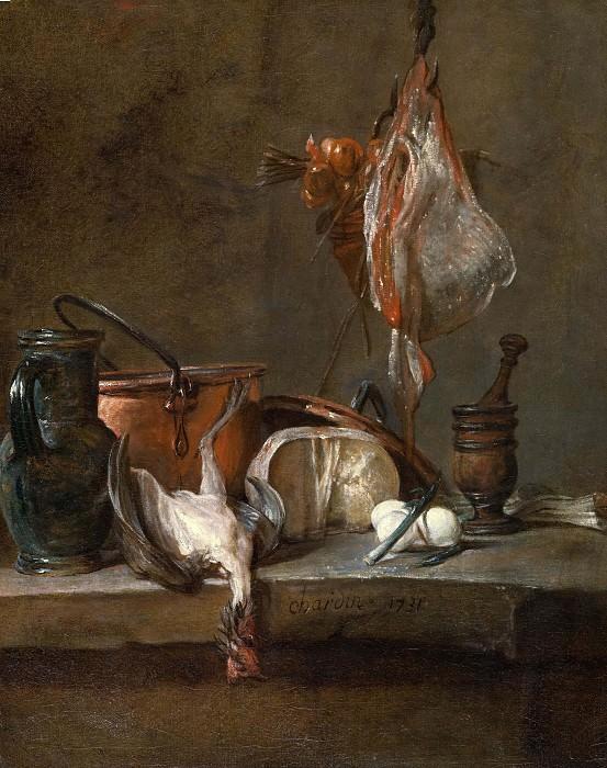 Натюрморт со скатом и корзинкой лука. Жан-Батист Симеон Шарден