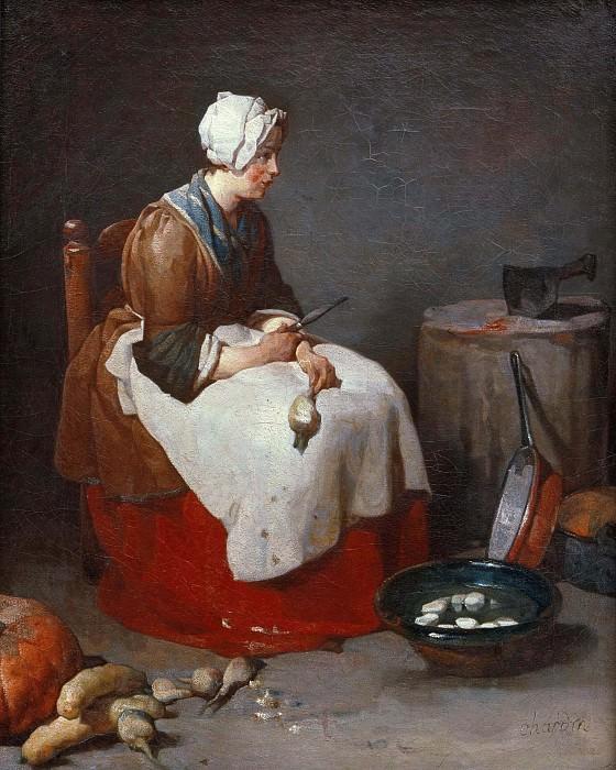 Женщина, чистящая репу. Жан-Батист Симеон Шарден
