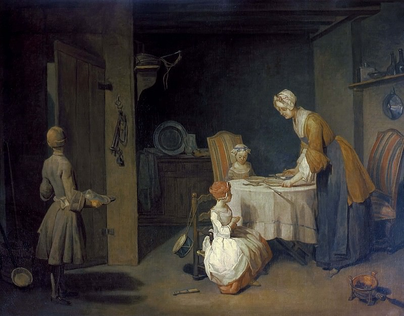 Prayer before dinner. Jean Baptiste Siméon Chardin