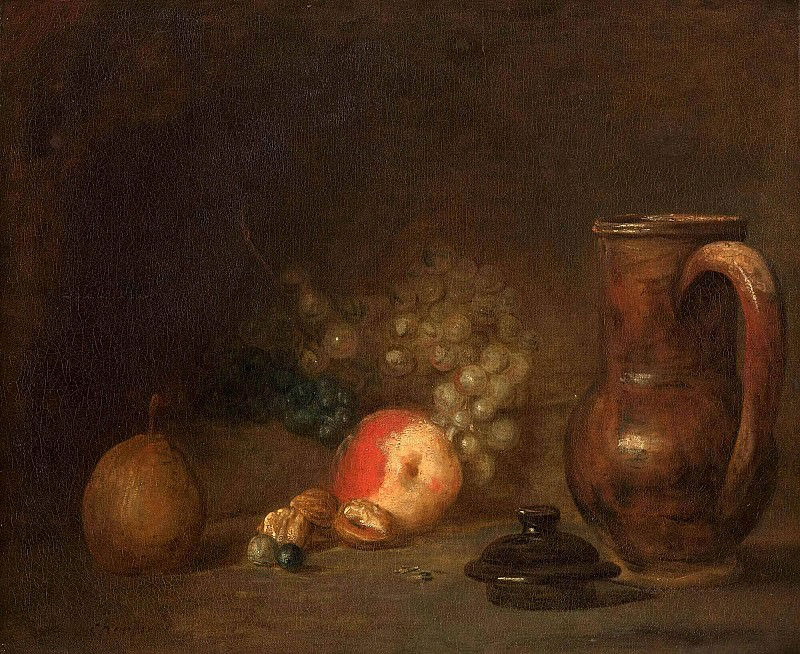 Still life with fruits and pottery jar. Jean Baptiste Siméon Chardin