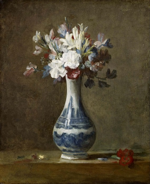 flowers in blue and white vase. Jean Baptiste Siméon Chardin