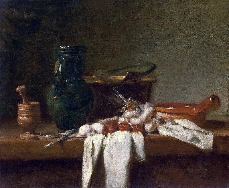 Still Life with Pestle and Mortar, Pitcher and copper Cauldron. Jean Baptiste Siméon Chardin