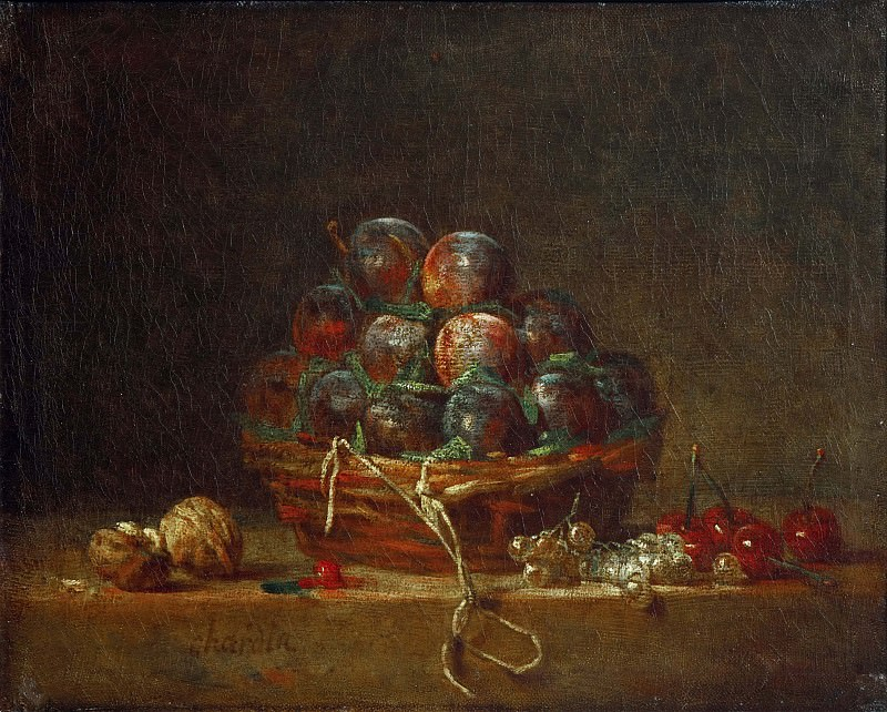 Корзинка со сливами, орехи, смородина и вишни. Жан-Батист Симеон Шарден