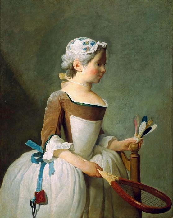 Girl with Racket and Shuttlecock. Jean Baptiste Siméon Chardin
