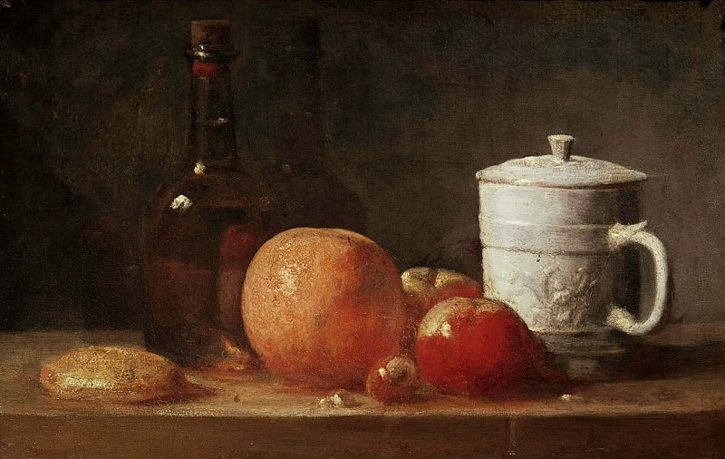 Still life with fruit, glass bottle and fayence pottery