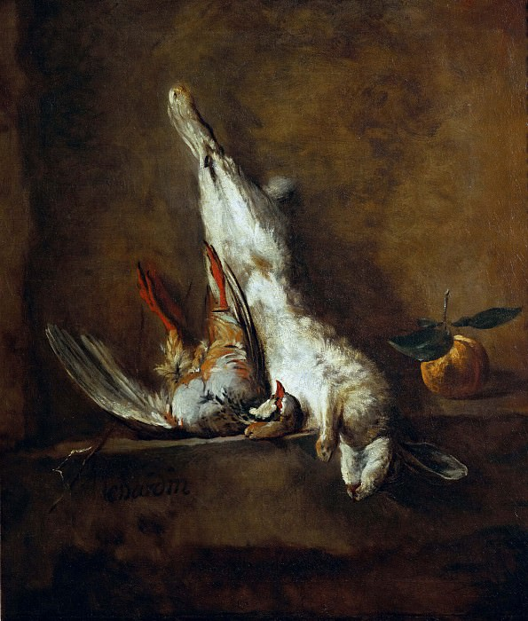 Dead hare with red partridge. Jean Baptiste Siméon Chardin