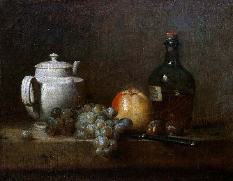White Teapot with grapes, Apple, chestnuts, knife and bottle. Jean Baptiste Siméon Chardin