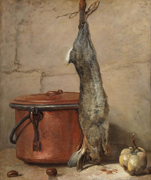 Rabbit and Copper Pot. Jean Baptiste Siméon Chardin