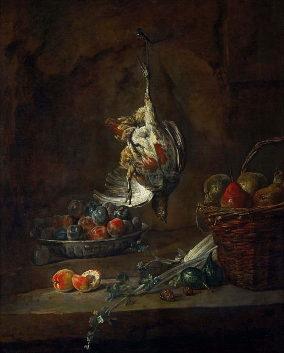 Dead Partridge Hung by One Leg, Bowl with Prunes, and a Basket with Pears. Jean Baptiste Siméon Chardin
