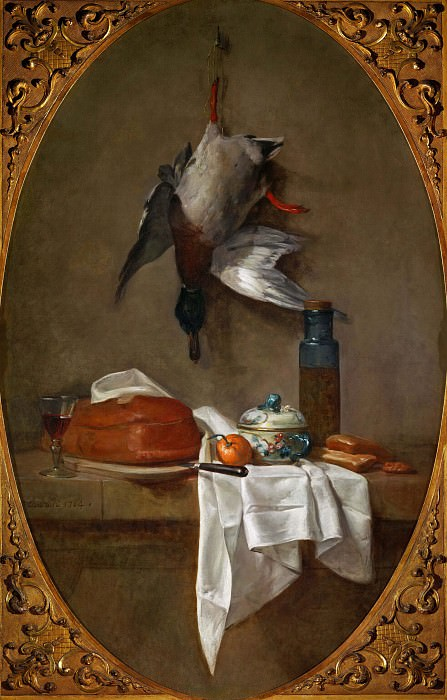 Duck Hung by a Leg, Pie, Bowl and Pot with Olives. Jean Baptiste Siméon Chardin