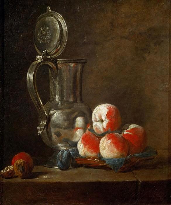 Оловяный кувшин с персиками, сливами и орехом. Жан-Батист Симеон Шарден