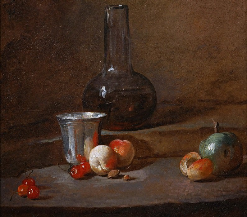 Carafe of Wine, Silver Goblet, Five Cherries, Two Peaches, an Apricot and a Green Apple. Jean Baptiste Siméon Chardin