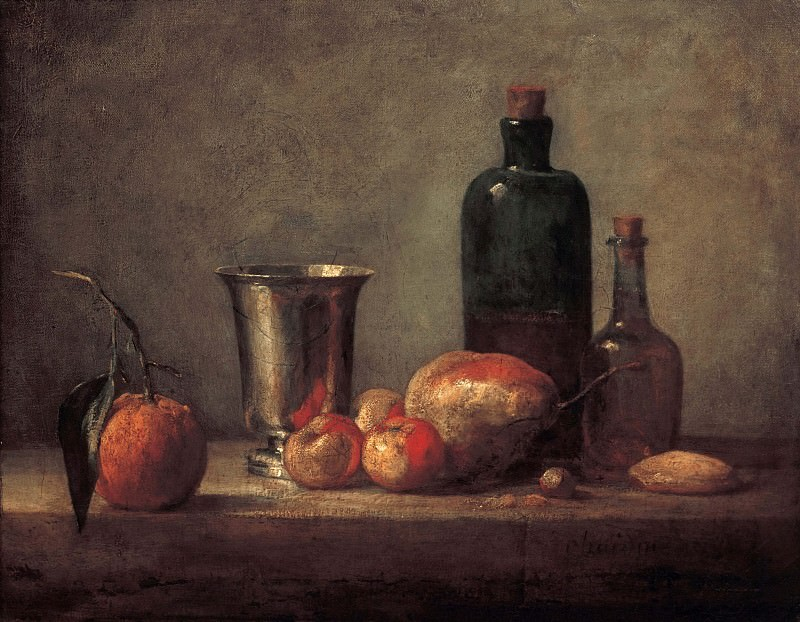 Still Life with Bigarade, Silver Cup, Apples, Pear and Two Bottles. Jean Baptiste Siméon Chardin