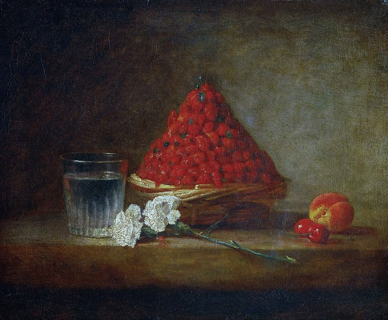 Basket with wild strawberries. Jean Baptiste Siméon Chardin