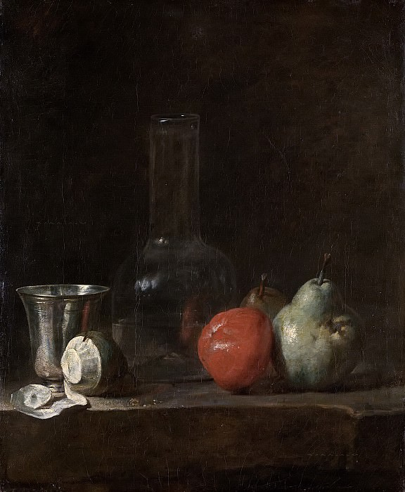 Still life with glass bottle and fruit. Jean Baptiste Siméon Chardin