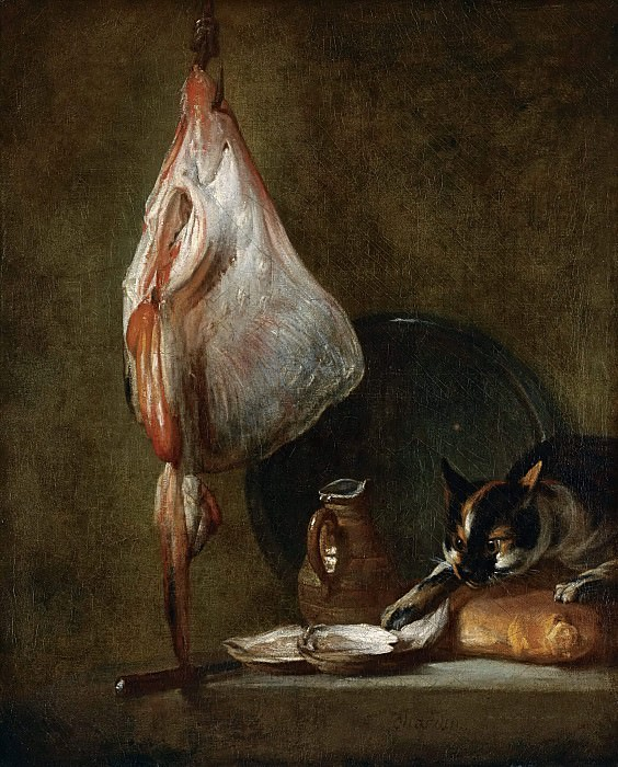 Still Life With Cat and Rayfish. Jean Baptiste Siméon Chardin