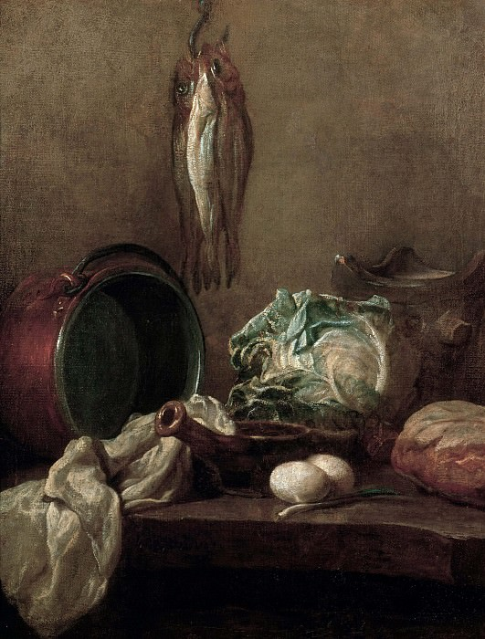 Still Life with three herings. Jean Baptiste Siméon Chardin