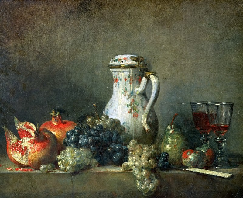 Still Life with Grapes and Pomegranates. Jean Baptiste Siméon Chardin