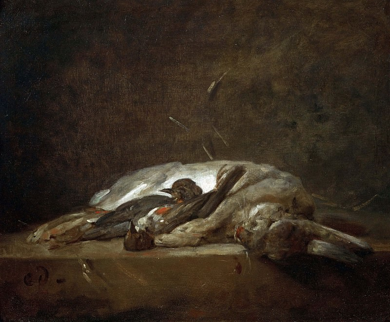 A hare, two dead thrushes, a few stalks of straw on a stone table. Jean Baptiste Siméon Chardin