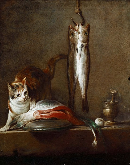 A cat with a piece of salmon,two mackerels, mortar and pestle. Jean Baptiste Siméon Chardin