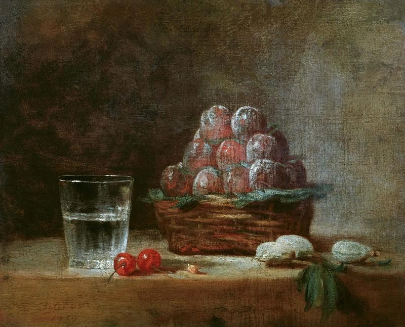 Натюрморт с корзиной слив. Жан-Батист Симеон Шарден