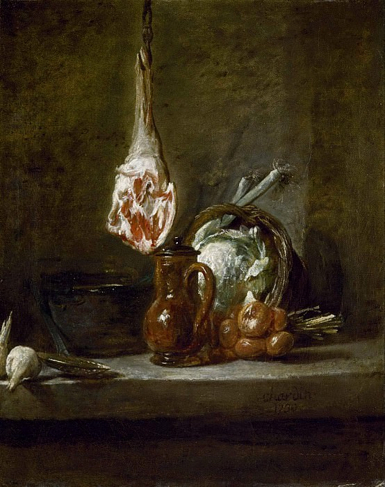 Still Life with Leg of Lamb. Jean Baptiste Siméon Chardin