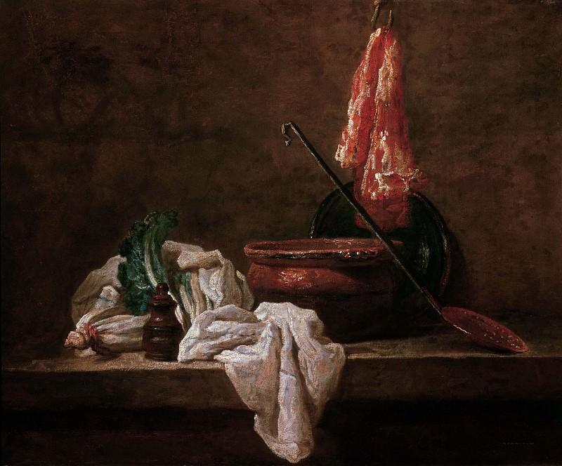 Still Life with Celery, Soup Bowl, Ceramic Platter. Jean Baptiste Siméon Chardin
