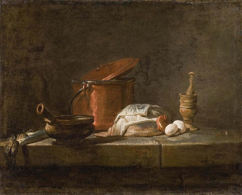 Натюрморт с кухонной утварью и овощами. Жан-Батист Симеон Шарден