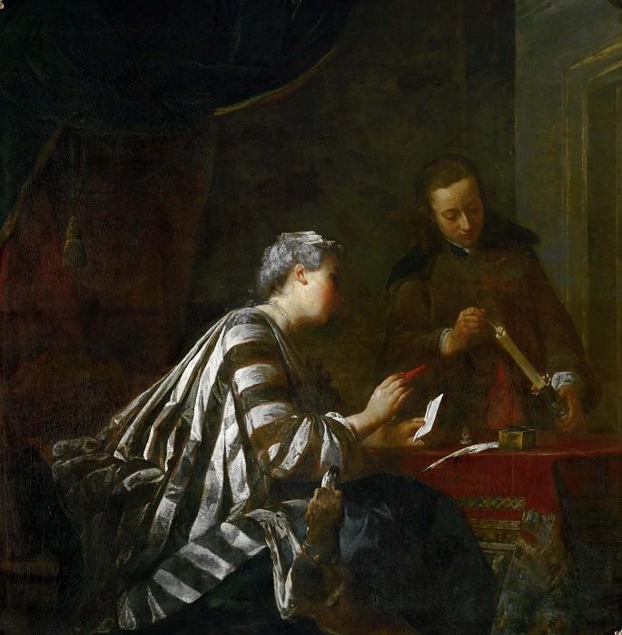 Женщина, запечатывающая письмо. Жан-Батист Симеон Шарден